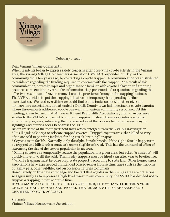 Vinings Village Homeowner's Association Letter